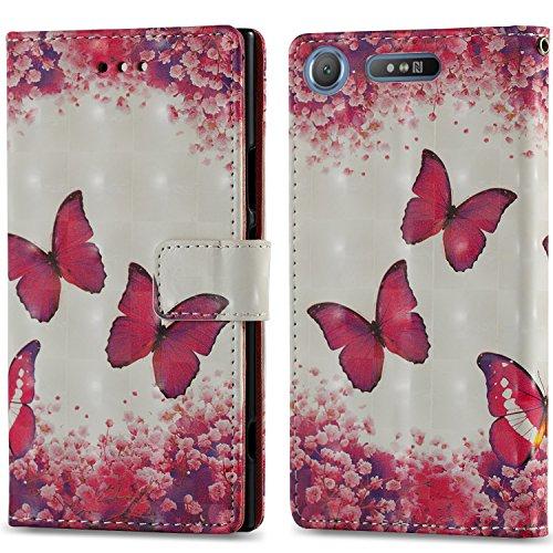 Ooboom Sony Xperia XZ Premium Hülle 3D Flip PU Leder Schutzhülle Stand Handy Tasche Brieftasche Wallet Case Cover für Sony Xperia XZ Premium - Schmetterling Rose