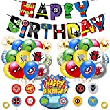Birthday Party Supplies Set for Kids, Superhero Avengers Theme Decorations Kits Include Birthday Banner, Balloons, Cupcake Toppers, Gold Flat Ribbon