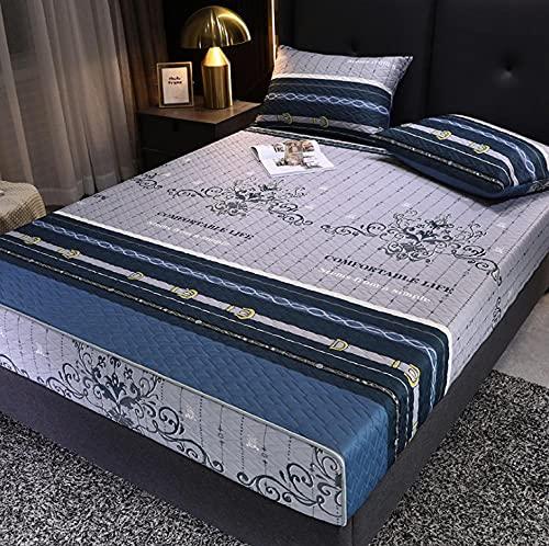 XLMHZP Sábana Bordada de Moda Sábana Ajustable Funda de Cama Niños Niñas Funda de colchón Fundas de Almohada Queen King Size-Blue Gray_180 * 200cm + 20cm (3PCS)