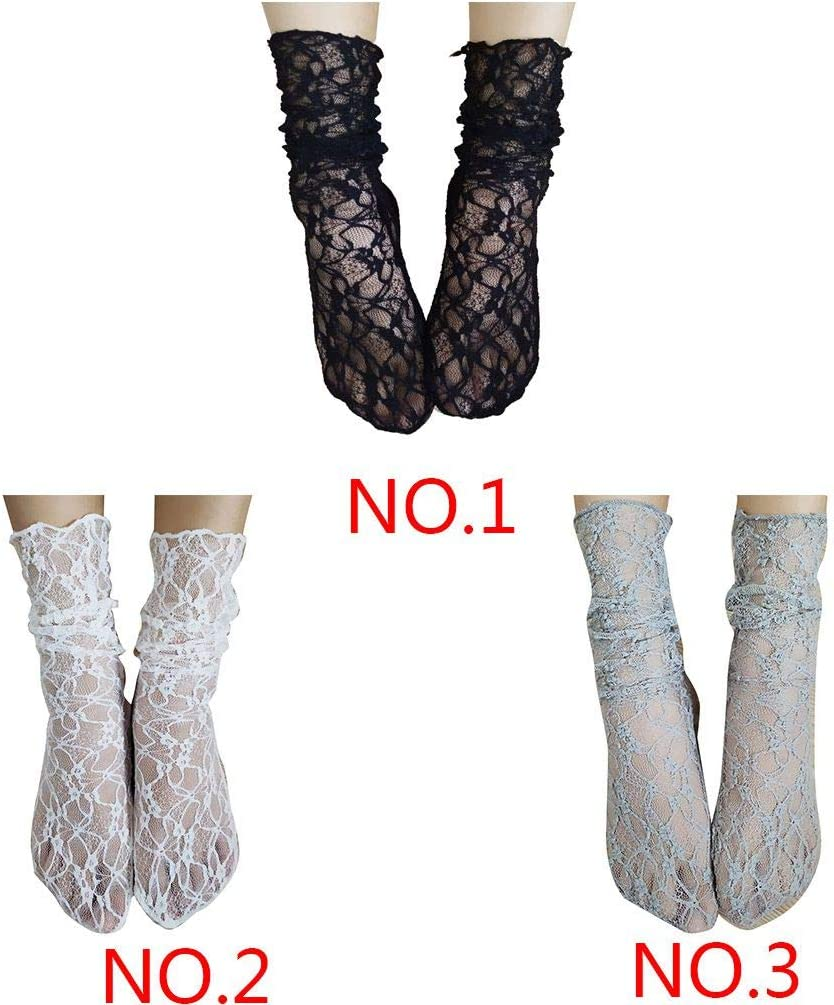 wanzhaofeng Reteo Girls Fishnet Summer Lace Socks Solid Color Ankle Mesh Slouch Loose Transparent Stockings