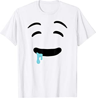 Drooling Emojis Face Easy Lazy Ghost Halloween Costume T-Shirt