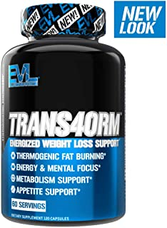 Evlution Nutrition Trans4orm Thermogenic Energizing Fat Burner Supplement, Increase..