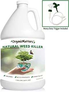 OrganicMatters Natural Weed Killer Spray, No Glyphosate, People, Pets and Eco-Friendly, Results in Less Than 24-Hours (128 oz Gallon)