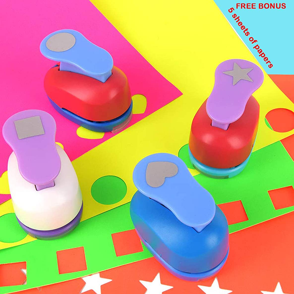 Buytra Scrapbook Paper Punchers Hole Punch 1 Inch - Shape Punches for Kids Paper Crafts, Card Making, Scrapbooking - 4 Shapes Including Circle, Star, Heart, Square Punch, Color May Vary
