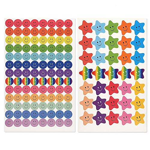 FEPITO 10 Sheet 695 Pcs Smiley Happy Face Stickers and Smiley Star Stickers for Teachers,Parents Kids Craft Scrap Books Decoration, Multi Color