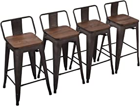 Yongchuang Metal Counter Height Bar Stool for Indoor-Outdoor(Pack of 4) Wood Top Low Back, 26