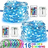 CYLAPEX 2 Set Color Changing Fairy Lights, Battery Operated Twinkle Lights with Remote, 16 Colors 50 LED on 16.4FT 4 Wires, 3AA Battery Powered String Lights for Bedroom Christmas Patio Waterproof