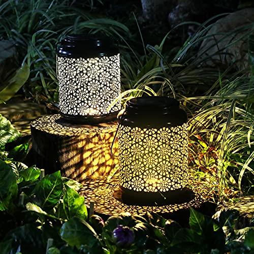 LETMY Solarlaterne für Außen 2 Stück,Metall Garten Solarleuchten mit Warmweiße und kaltweißeLicht, IP65 WasserdichtHängend Solarlampenfür AußenGarten, Terrasse,Rasen, Balkon