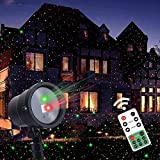 Twinkle Star Christmas Laser Lights Projector with Remote Control, Moving Red Green Star-Like Lights Outdoor Led Landscape Spotlight...