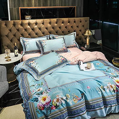 Juego De Funda De EdredóN Cama Matrimonio,60 huellas de seda, juego de cuatro piezas, lavado de agua, seda suave suave y reversible SLR cama doble, un solo edredón especial con funda de almohada, ade