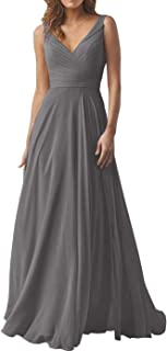 Double V Neck Bridesmaid Dresses Long for Women Chiffon Aline Prom Evening Gown