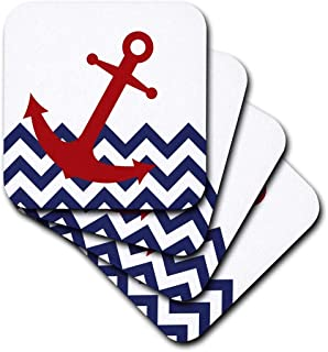 3dRose cst_165791_1 Red Nautical Boat Anchor on Chevron Pattern-Soft Coasters, Set of 4