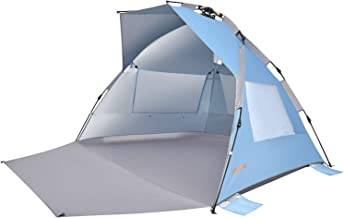 #WEJOY XL Pop Up Beach Shade Tent Sun Shelter with SPF UV 50+ Protection, Extended Porch, 3 Mesh,Windows, Carrying Bag, St...