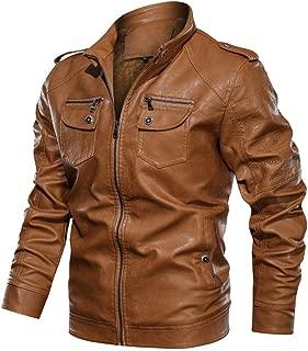 Men's Leather Coat Autumn Winter Vintage Solid Zipper Stand Collar Imitation Overcoat Beautyfine