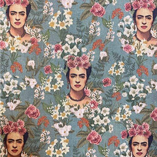 Kt KILOtela Tela de loneta Estampada Digital - Half Panamá 100% algodón - Retal de 100 cm Largo x 140 cm Ancho   Frida Kahlo y Flores - Verde ─ 1 Metro