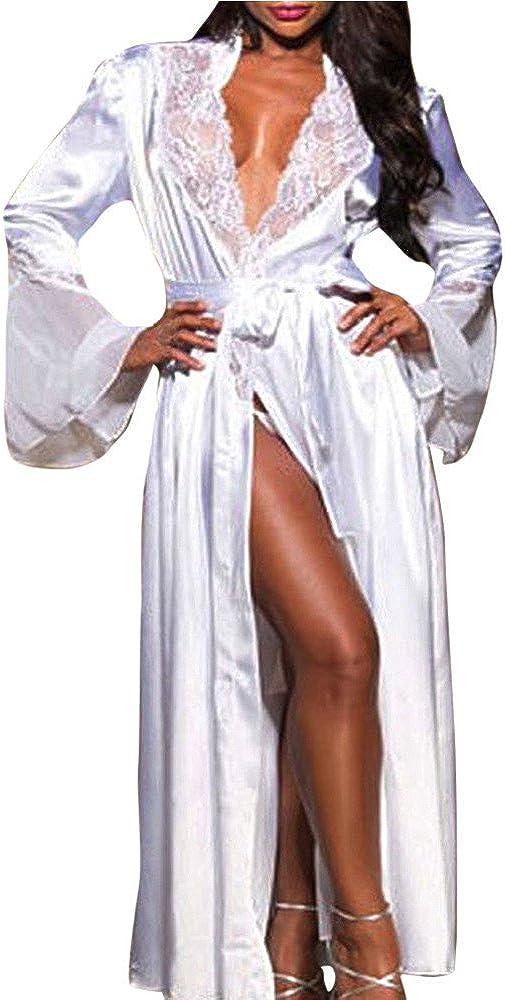 MISYAA Kimono Robes for Women, Satin Long Bell Sleeve Lace Patchwork Bathrobe Breathable Lingerie Sleepwear Cardigan