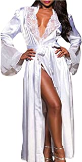 iTLOTL Women Gown Babydoll Lace Lingerie Bath Robe Sexy Long Silk Kimono Dressing(1robe+1thong