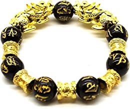 COLORFUL BLING Natural Stone Black Obsidian Pixiu Bracelet with Tiger Eye and Double Pixiu Lucky Brave Troops Charms Jewelry for Women & Men