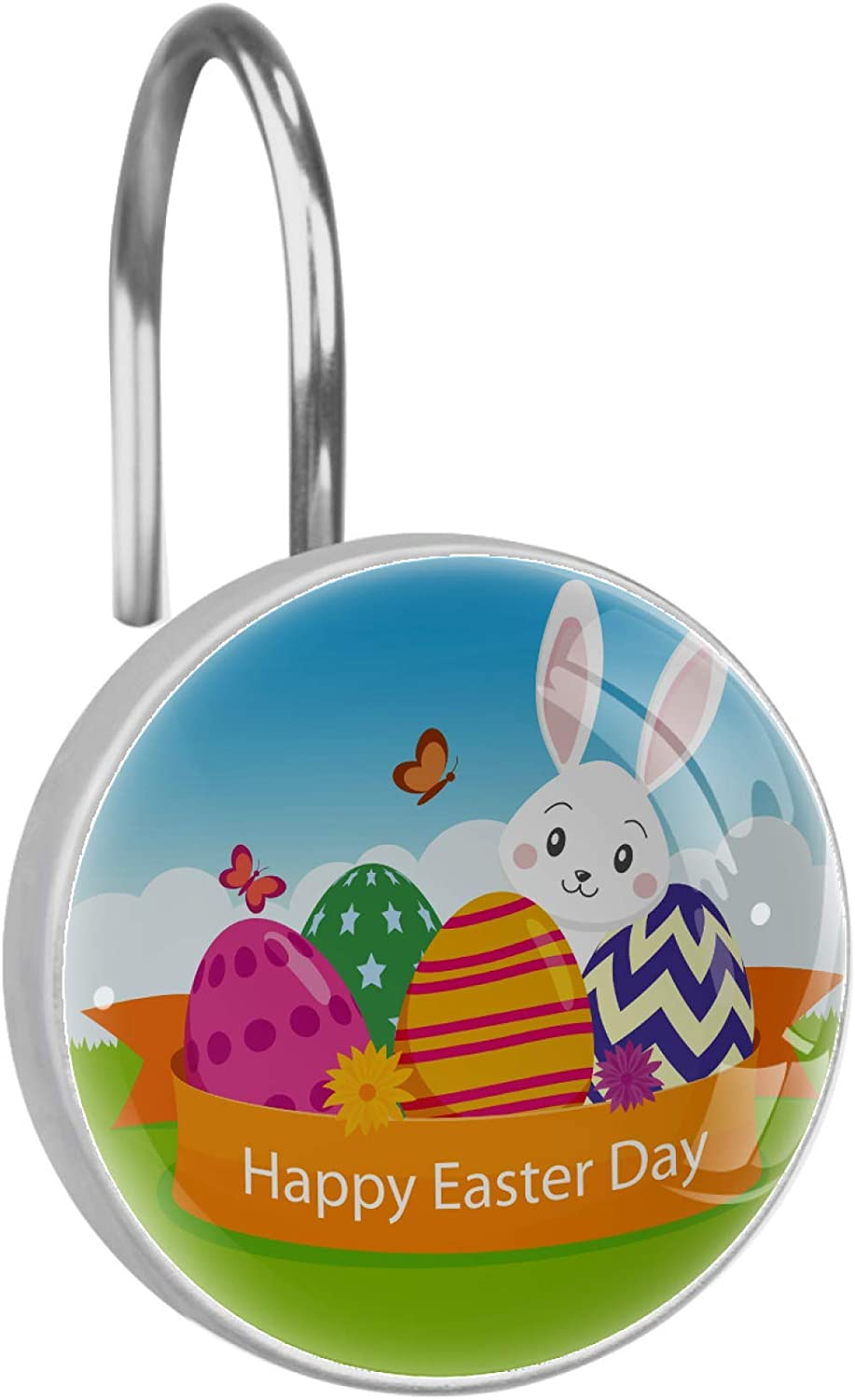 Max 86% OFF Flat Happy Easter Selling rankings Day Background Curtain Hooks Shower Ri