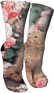 靴下 抗菌防臭 ソックス かわいい猫ラパームローゼズアスレチックスポーツソックス、旅行&フライトソックス、塗装アートファニーソックス30 cmロングソックス