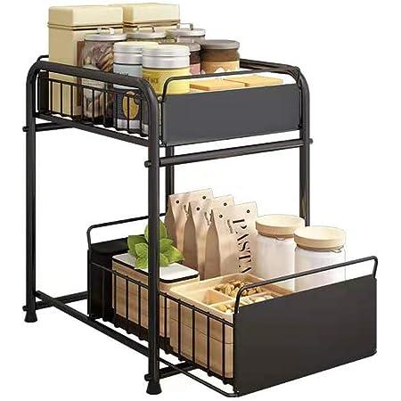 YunNasi 2 Niveaux Étagère sous Evier Rack Support de Rangement Organiseur avec tiroir Coulissant Porte-épices pour comptoir de Cuisine (Noir, 16/23x36x40cm)