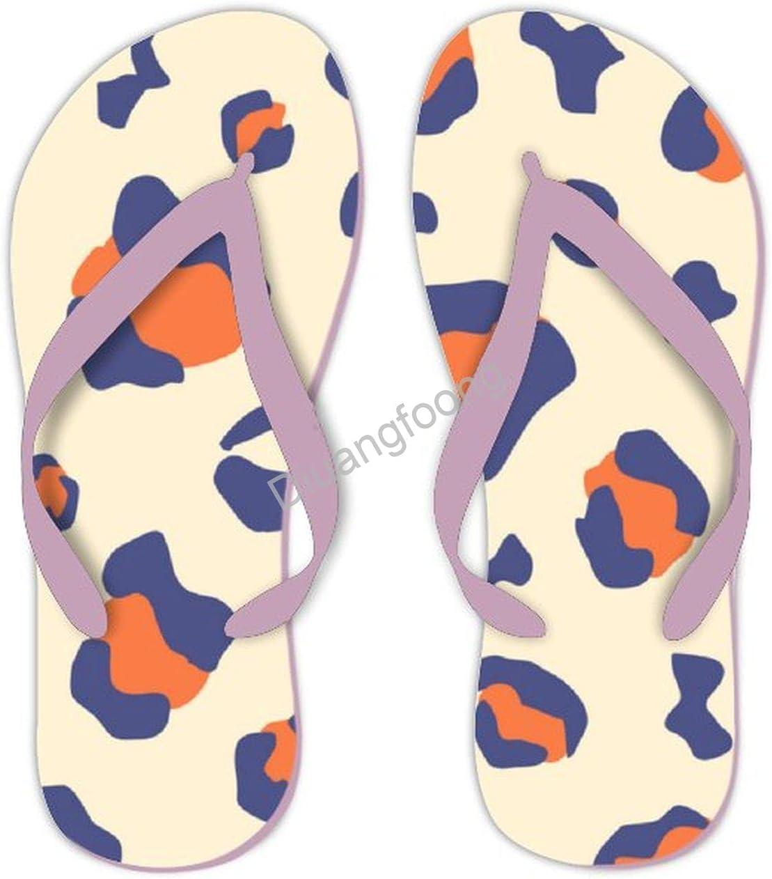 Leopard Flip Flops Comfortable Print Thong Sandal Pretty Sandal For Party Bathroom Travel Pink-Style8