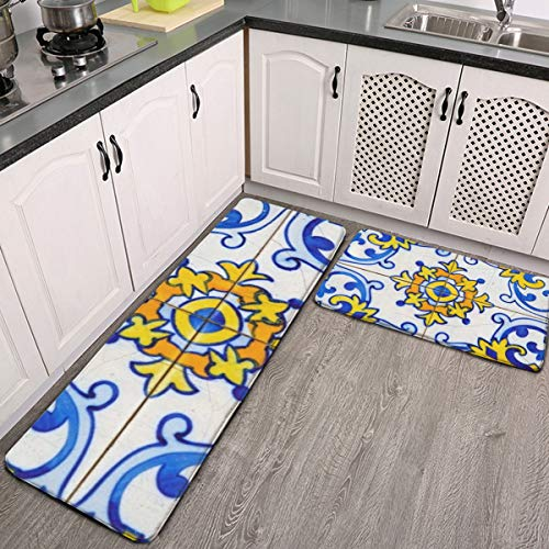 Juego de 2 alfombras de cocina tradicionales portugueses azulejo azulejo lavable alfombrillas de cocina juego antideslizante para interiores y exteriores