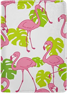 Pink Flamingos Exotic Bird Tropical Summer Scarf Blocking Print Passport Holder Cover Case Travel Luggage Passport Wallet Card Holder Made with Leather for Men Women Kids Family