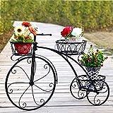 Puesto De Flores Soporte De Maceta - Hierro Forjado Bicicleta Moldeado Metal Maceta Poseedor Creativo Interior Al Aire Libre Jardinera para Balcón Corredor Jardín Terraza, 78 X 24 X 55cm