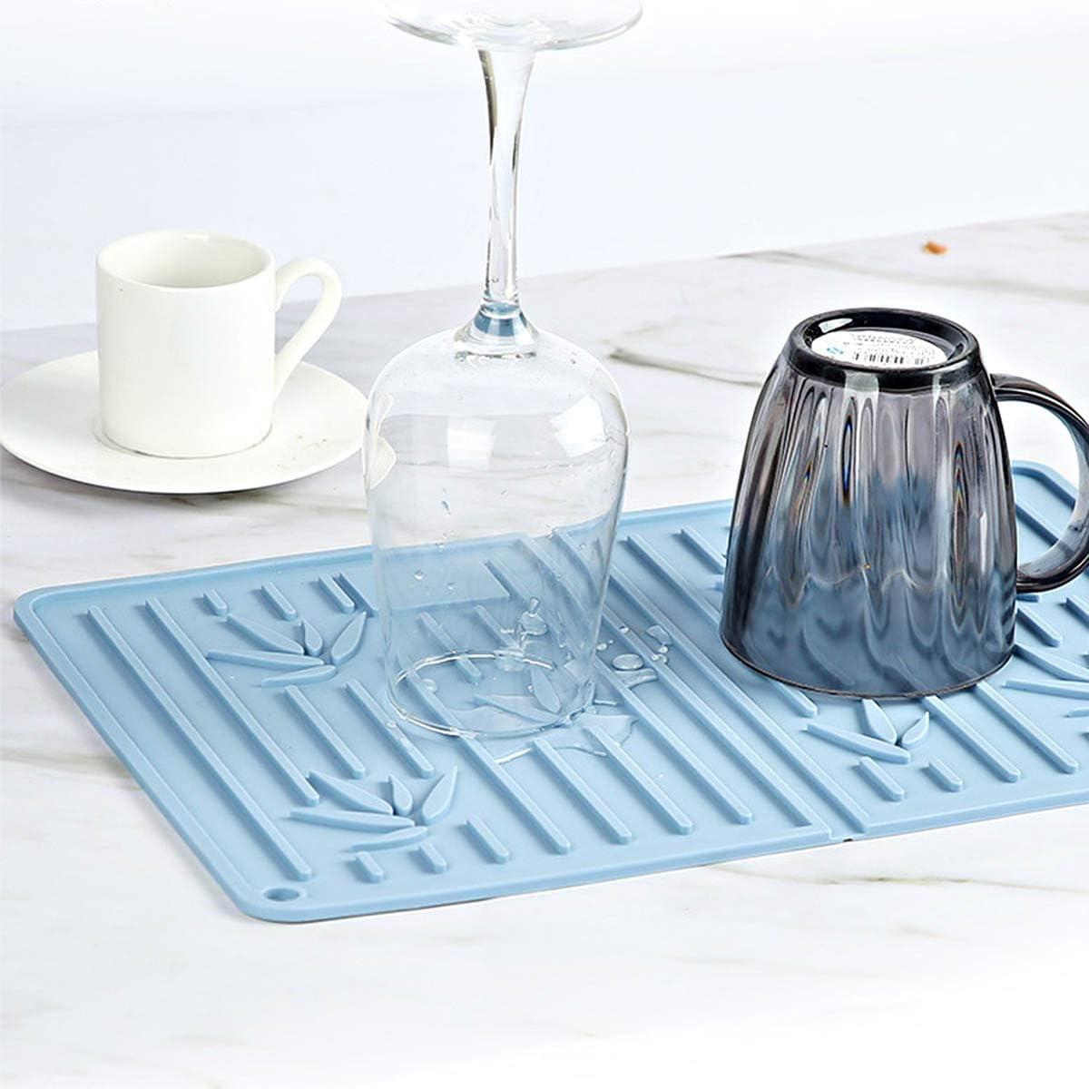 EACHPT tappetino scolapiatti in silicone tappetino per asciugare i piatti antiscivolo con spazzola tappeto di asciugatura per stoviglie stuoia drenante resistente al calore per tazza piano blu
