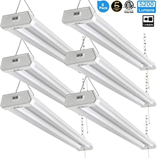 Linkable LED Shop Light for Garage, 42W 5200lm 4FT, 6000-6500K Daylight White, with Pull Chain (ON/Off) cETLus Listed, 5-Year-Warranty, 6000K (6PK)