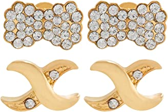Venus Accessories Gold Plated Alloy Stud Earrings 2 Piece Set