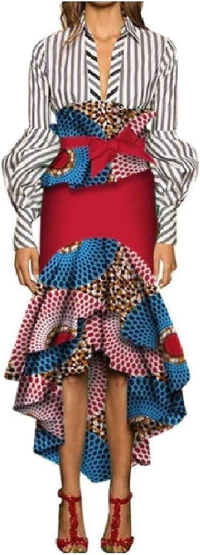 Cobama Women Bowknot Cotton Over Waist African Wax Fabric Irregular Skirt
