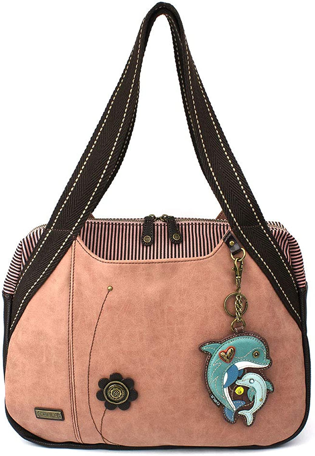 Chala Handbags Dust pink Shoulder Purse Tote Bag with Key Fob Coin Purse