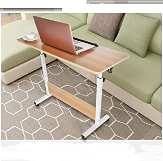 Computer Student Laptop Desk Height Adjustable Wooden Laptop Table Computer Standing Desk Mobile Workstation with Wheels 31.5x15.7 inch // VECDUO