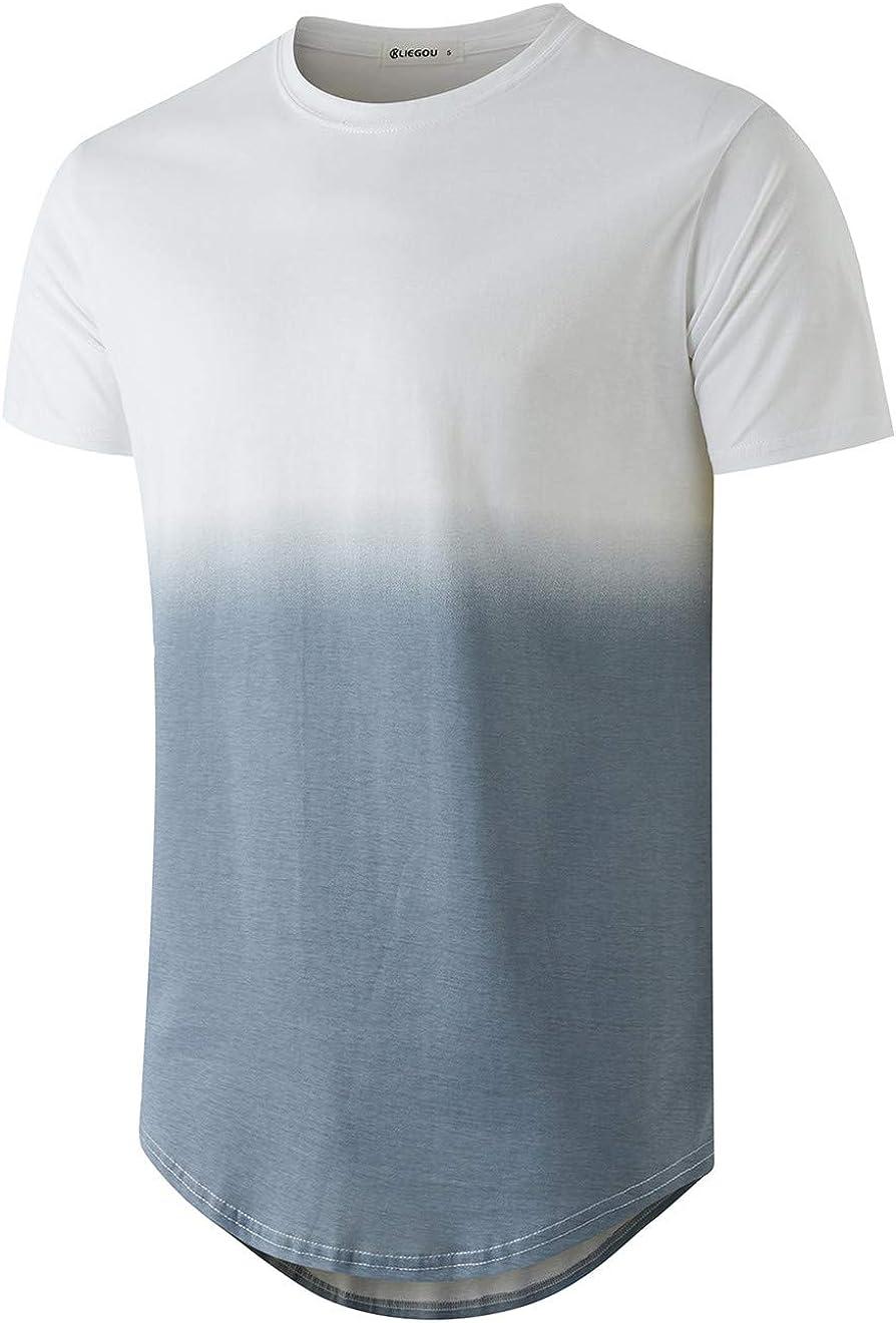 KLIEGOU Men's Soldering Fashion Hip Hop Max 55% OFF Stripe Color T-Shirt Block