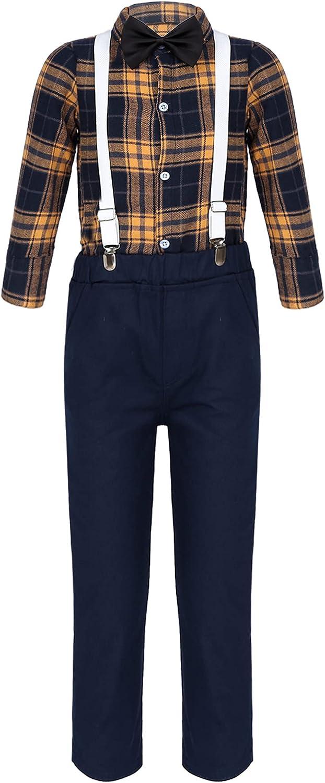 Choomomo Kids Boys Gentleman Outfit Little Boys Formal Long Set Toddler Bow Tie Shirts + Suspender Pants 4Pcs