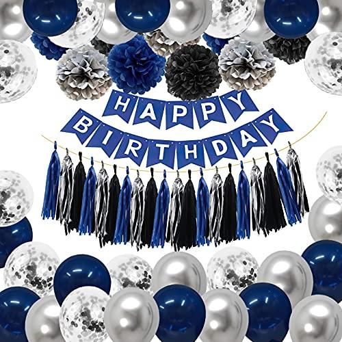 Decoraciones de Cumpleaños Azul, Pancarta de Feliz Cumpleaños, Globos de Látex, Pompones y Borla para Hombres, Mujeres, Niños, Niñas, Decoración de Fiesta