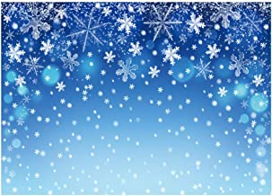 Funnytree 7x5ft Blue Winter Snowflake Photography Backdrop Christmas Snow Bokeh Shiny Sparkle Party Background Merry Xmas Baby Shower Kids Birthday Portrait Decorations Photobooth Banner Photo Studio
