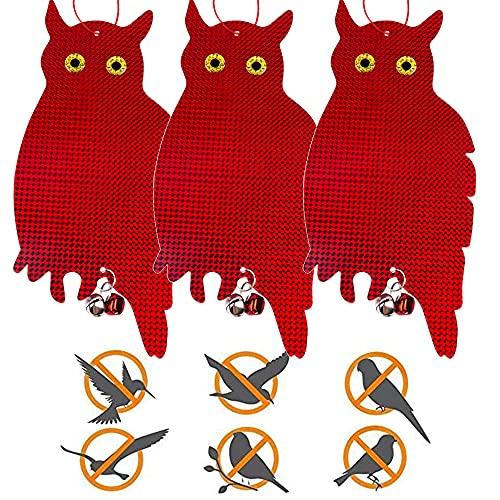 3PCS Vogelabwehr Reflektierende Eule,Eule Vogelschreck Balkon,Eule Attrappe Vogelschreck,Hängende Eule Vogel,Vogelschreck Vogelscheuche Eule,Eulenattrappe (Rot / 3PCS)