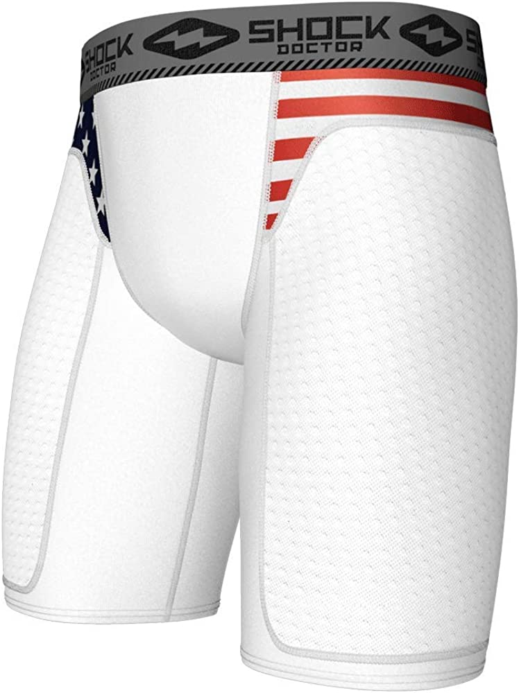Compression Sliding Padded Shorts with Cup Deluxe New Free Shipping Inclu Pocket NOT