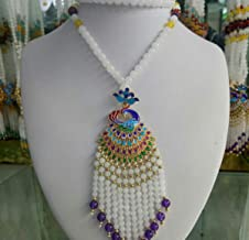 Libaraba Cloisonne Filigree Displaying Peacock with White Jade Beads Tassels Pendant Necklace with Jewelry Box,Peacock Necklace for Women?