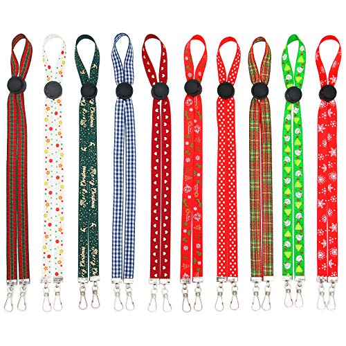 10 PCS Adjustable Mask Lanyard for Christmas, Mask Lanyard with Clips Mask Holder Adjustable Length Glasses Chain Hanger Cords String Necklace Comfortable Around Neck