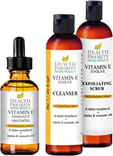 100% All Natural & Organic Vitamin E Oil + Cleanser + Scrub, Unscented - Reduces Wrinkles, Lightens Dark Spots, Heals Stretch Marks & Surgical Scars