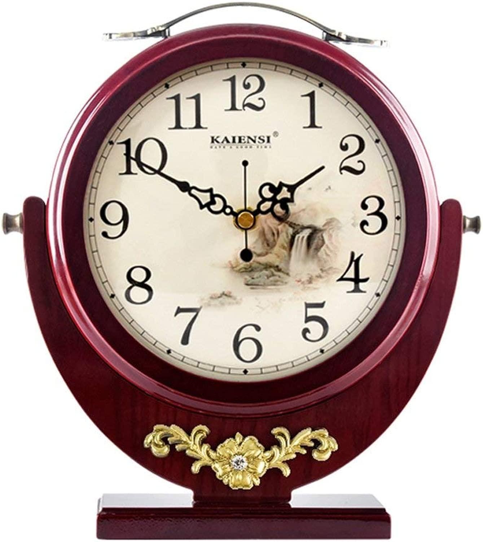 デスククロックファミリークロック置時計、アメリカのクリエイティブリビングルーム用両面木材装飾リビングルームの寝室に適していますオフィス(色:赤wood color)