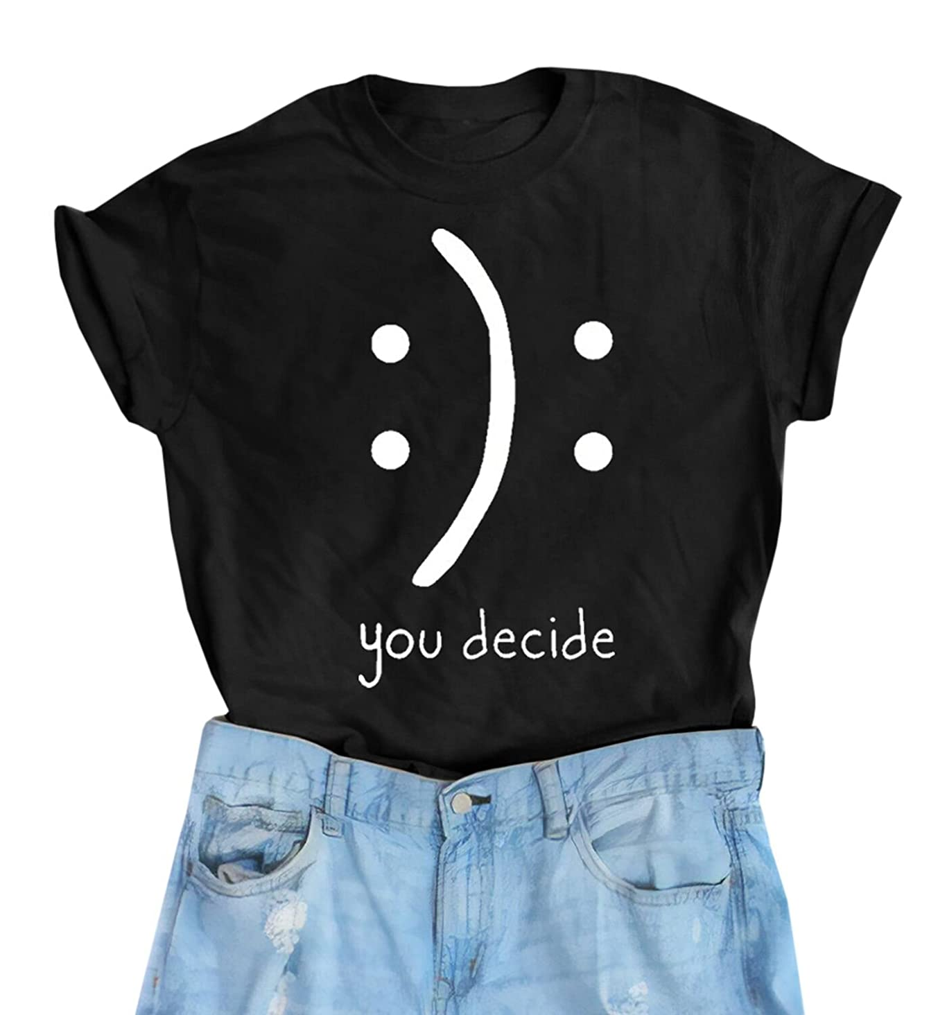 Gemijack Womens Graphic Tees Cute Funny T Shirts Casual Short Sleeve Cotton T-Shirts Summer Tops