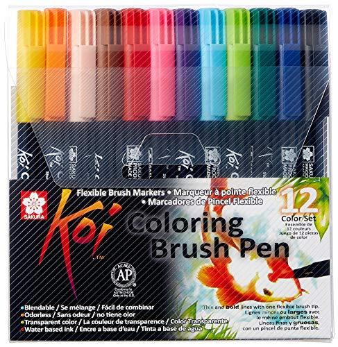 Sakura Koi Coloring Brush Pens 12er-Set, 12 Pinselstifte im Etui