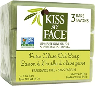Kiss My Face Naked bar Soap, 4oz Bars, 3Count (0100461) Pure Oive oil Pure Olive Oil 12 Ounce