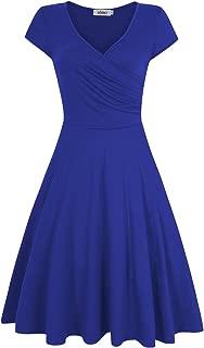 Women's A Line V Neck Long Sleeve Slim Knee Length Swing Elegant Casual Dress