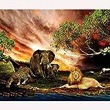 DIY 5D diamond painting, Leopardo león elefante Manualidades para decoración de Pare-40X30cm/sin marco